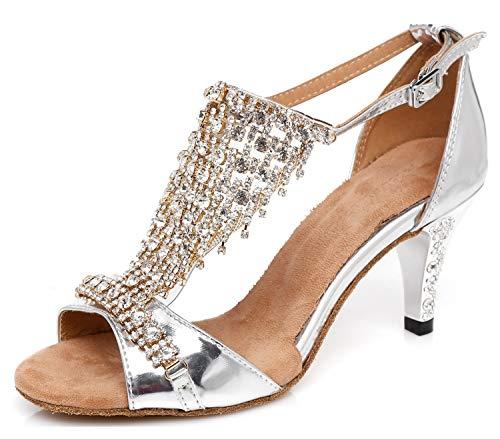 Minishion Women's Rhinstone T Strap Fashion Dance Shoes Formal Party Wedding Prom Sandals Silver US 7.5