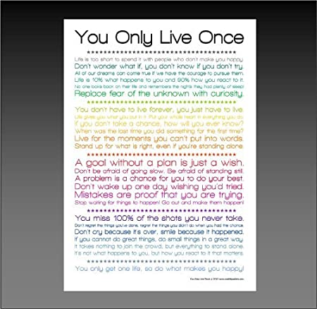 You Only Live Once Yolo Motivational Quotes Phrases Poster