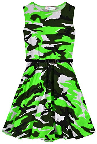 [Girls Neon Camouflage Skater Dress New Kids Sleeveless Camo Dresses] (Neon Party Dresses)