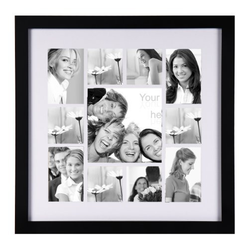 Adeco PF0050 11 Openings Wood Wall Hanging Picture Photo Frame, Black