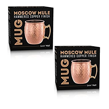 Moscow Mule Hand Hammered Copper Mug - 18 oz - Set of 2 - with Free Bonus Cocktail Recipes