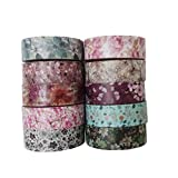 Leo's Choice Multiple Floral Patterns Washi Tape set of 10