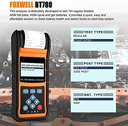 SHIJING BT780 12V Probador de la batería del Coche 0-1000A Gel EBP ...