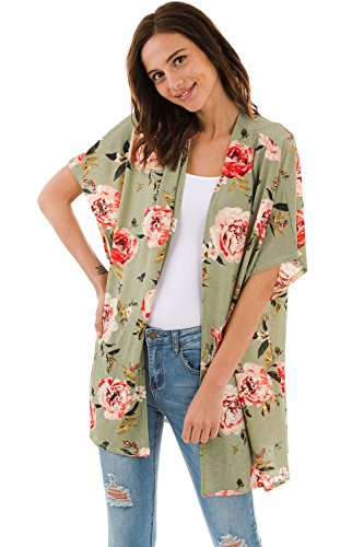 1e8126381c Frumos Womens Open Front Short Sleeve Printed Cardigan Sweater Made in USA