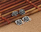 Luoyi 2pcs Tibetan Style Thai Silver Hook Clasps, with Rose Flower (C017Y) (1# (S-Hook clasps))