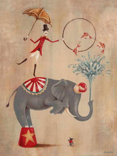 Oopsy daisy, Fine Art for Kids Vintage Circus Elephant Stretched Canvas Art by Sarah Lowe, 18 by 24-Inch