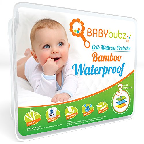 Anais Bamboo Crib Sheet (Bamboo Crib Mattress Protector - Waterproof Baby Pee Pad Cover - Soft, Fitted, Breathable, Hypoallergenic, Non-Toxic & Washable by BabyBubz)