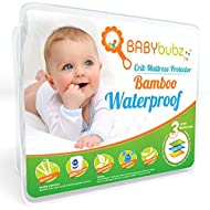 Bamboo Crib Mattress Protector - Waterproof Baby Pee Pad Cover - Soft, Fitted, Breathable, Hypoallergenic, Non-Toxic & Washable by BabyBubz