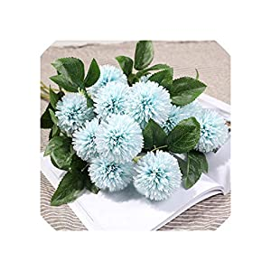 Liliy-luckly Artificial Flowers Branch Leaf Flower Dandelion Artificial Flower Round Bouquet Silk Flower Decorative,Picture color2 44