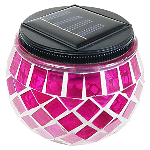 iGlow 1 Pack Outdoor Magenta Solar Powered Mosaic Lights Crystal Glass Ball LED Landscape Path Lamp Post Deck (Magenta Lamp)