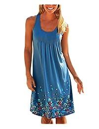 Women's Summer Casual Loose Mini Print Sleeveless Sundress A-Line Beach Dress
