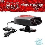 Portable Car Heater, Car Defroster Car Defogger 30 Seconds Fast Heating 12V 150W Auto Ceramic Heater 3-Outlet Plug In Cigarette Lighter(Red)