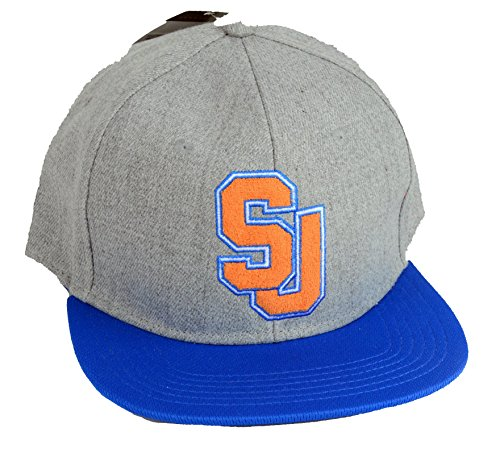 Sean John Flat Bill Baseball Hat Cap Grey and Blue SJ Adjustable