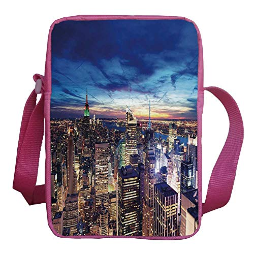 (City Stylish Kids Crossbody Bag,Empire State and Skyscrapers of Midtown Manhattan New York Aerial View at Dusk for Girls,9