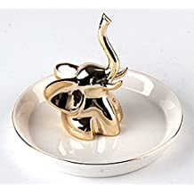 "4.29"" Gold Plated Elephant White Ceramic Jewelry Dish Ring Holder"