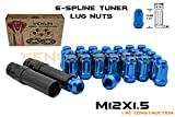 (20) M12x1.5 Spline Blue Tuner Lug Nuts Security Socket Keys Included | 12x1.5 Thread Pitch Jaguar XF XJ XK X-Type