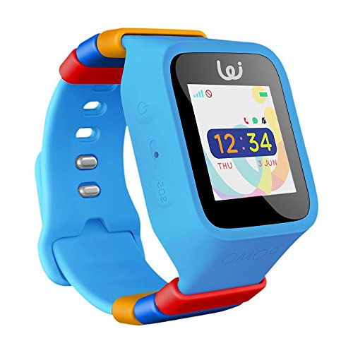 POMO Waffle Smart Watch GPS Locator for Kids (Blue) with SOS Function, Pedometer, Touch Screen, Phone/Messaging, Precision Locators, and More! Syncs with iPhones and Android Phones.