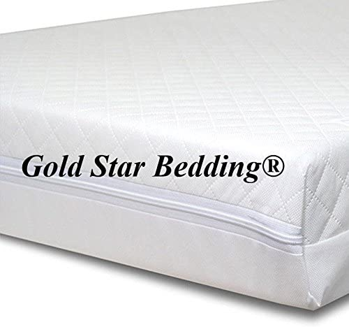Baby Travel Cot Mattress 112 x 55 x 7.5 cm Quilted Breathable Antiallergenic Gold Star Bedding/® UK Made