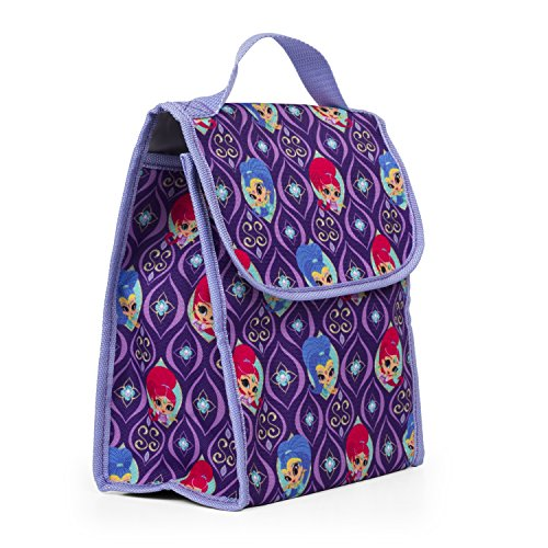 (Nickelodeon 35304 Shimmer & Shine Purple Insulated Lunch Bag, Reusable Outdoor Travel Picnic School Lunch Box Collapsible Tote Bag with Front Pocket, Zipper Closure, Foldable & Multi-Use for Kids)