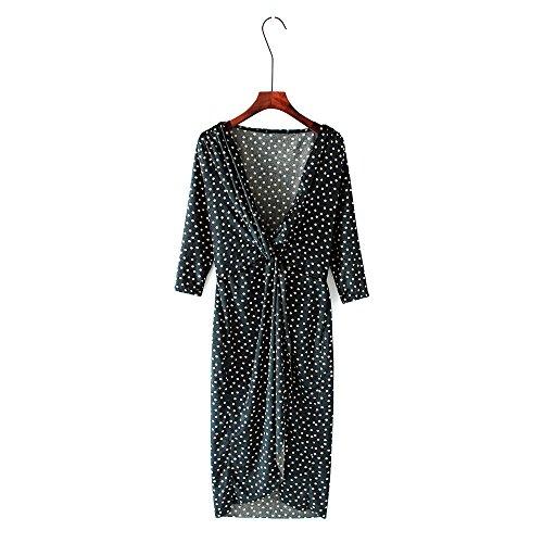 Estampado de Cuello Falda Terciopelo de de en Mujer Falda largas OMAS con con V Faldas Wave EpXqR1