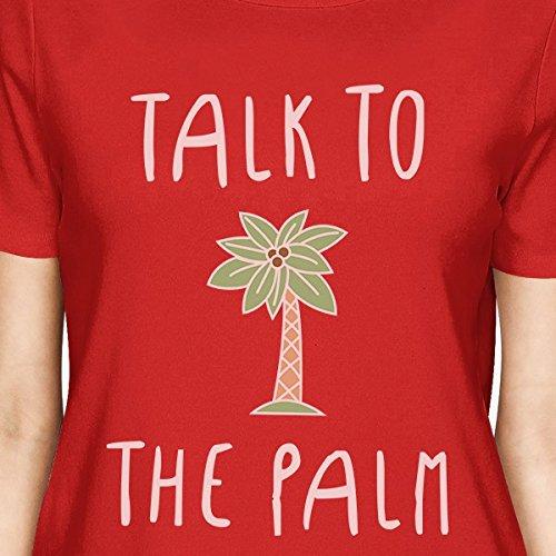 manga para mujer Camiseta Camiseta To estampada de Palm Red Talk 365 mujer corta para The tft4waqg
