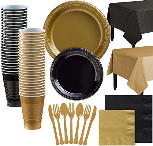 Party City Gold and Black Plastic Tableware Kit for 100 Guests, 852 Pieces, Includes Plates, Napkins, and Table Covers