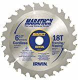 5 Pack Irwin 14020 6-1/2in. 18-Tooth Framing/Ripping Marathon Cordless Circular Saw Blades