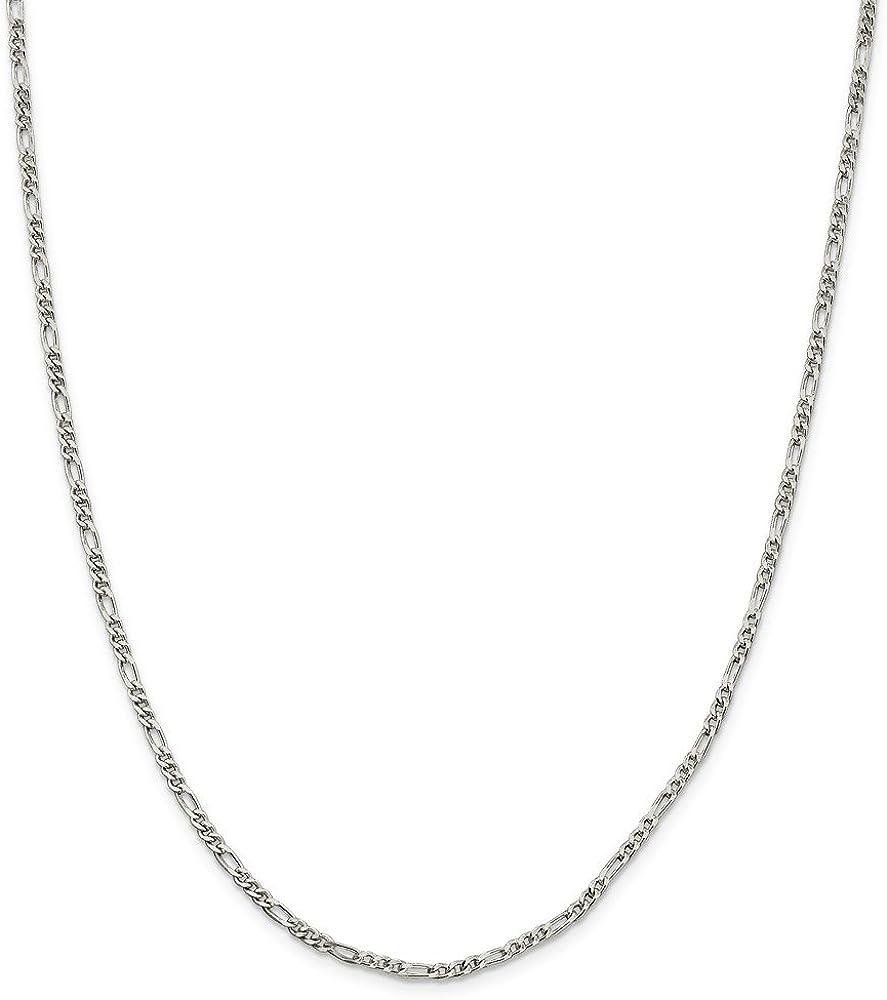 10 Mia Diamonds 925 Sterling Silver Solid 2.5mm Figaro Anklet Bracelet 10in x 2.5mm