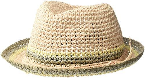 Steve Madden Women's Raffia Crochet Straw Striped Fedora, Blush, One Size