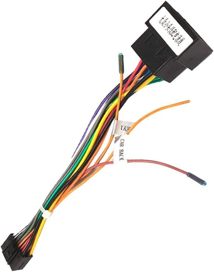 16 Pin Wire Harness ISO Adapter Cable for Android Car Stereo ISO Standard Socket with Steering Wheel Control Lines and Reverse Control Line Wiring Harness