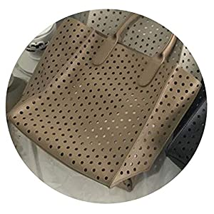 Ladies Handbags Women Bags Hollow Out Leather Tote Bag Stylish Large Capacity Handbag,khaki