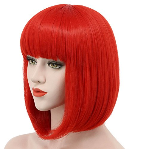 Karlery Women Short Straight Bob Red Fasion Wig Flat Bangs Cosplay Party Wig -