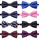AUSKY 8 PACKS Mixed Color Elegant Adjustable Pre-tied bow tie for Men Assorted Pattern (B)