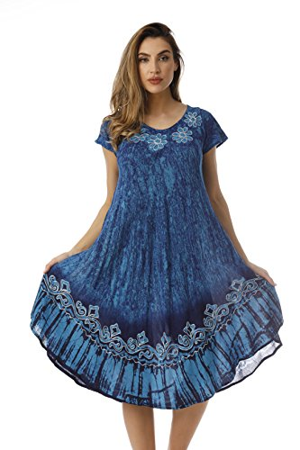 Rayon Crepe - Riviera Sun Rayon Crepe Batik Marble Short Sleeve Umbrella Dress 21835-BLU-M