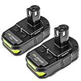 P102 2500mAh Replace for Ryobi 18V Lithium Ion Battery P104 P105 P102 P103 P107 P108 for Ryobi 18-Volt ONE+ Plus Power Tool Batteries 2Pack