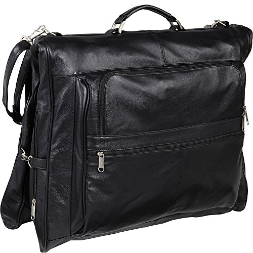 AmeriLeather Leather Three-suit Garment Bag (Black) by Amerileather