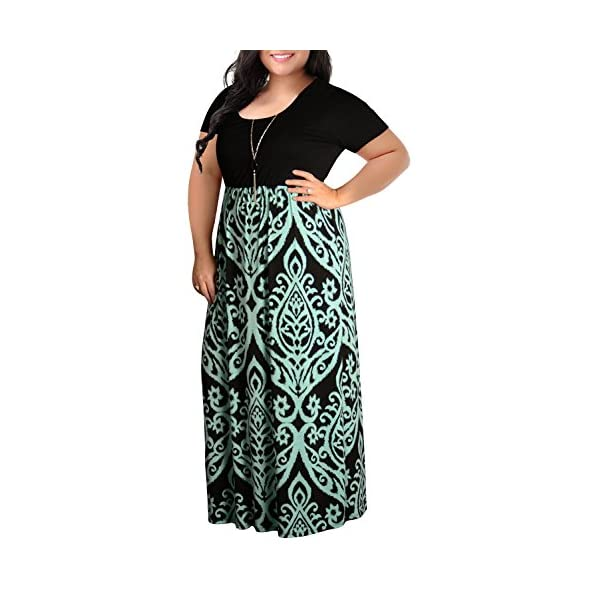 9c6e4cbf66 Home / Short Sleeve / Nemidor Women's Chevron Print Summer Short Sleeve  Plus Size Casual Maxi Dress