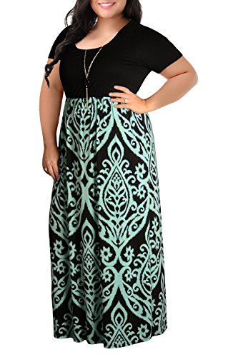 Nemidor Women's Chevron Print Summer Short Sleeve Plus Size Casual Maxi Dress(20W,Light...