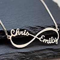 Personalized Infinity Necklace with Names - Sterling Silver Couple Infinity Name Pendants