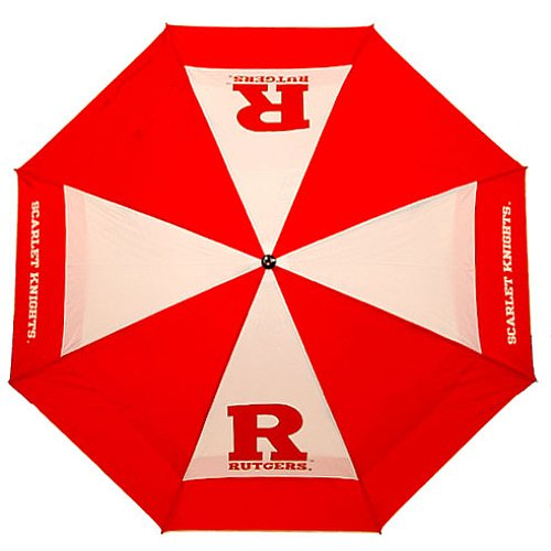 "Team Golf NCAA Rutgers Scarlet Knights 62"" Golf Umbrella with Protective Sheath, Double Canopy Wind Protection Design, Auto Open Button"