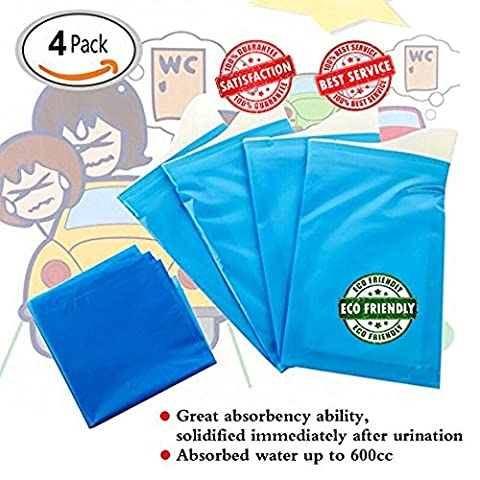 Disposable Urinal, 1time Mini Toilet Bag for men, women, baby and children (pack of 4)