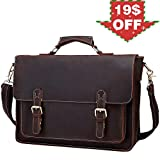 Berchirly Real Leather Lawyer Briefcase, 15.7 Laptop Messenger Bag Shoulder Tote Bag
