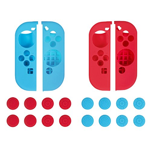 Nintendo Switch Joy-Con Gel Guards Thumb Grips Silicone Cover Case for Controller Neon Blue & Red