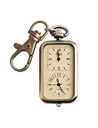 Montre De Poche Pendant Key Ring Classical Antique Analog Dual Time Pocket Keychain Quartz Watch