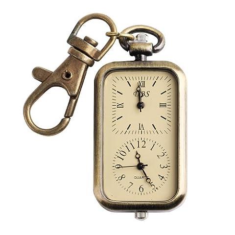 ALIENWOLF Pocket Watch for Women or Men Classical Antique Dual Time Key Chain Quartz Analog Watches (Men Antique Watch)