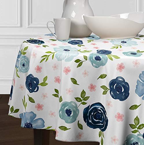 A LuxeHome Blush Pink, Green, Navy Blue Shabby Chic Watercolor Rose Floral Tablecloths Dining Room Kitchen Round 90""