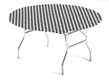 Creative Converting Round Stay Put Plastic Table Cover, 60 Inch, Black Check