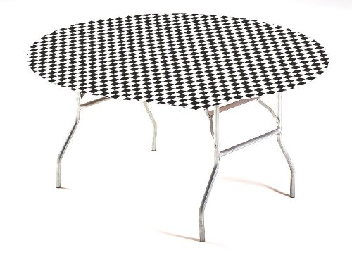 - Creative Converting Round Stay Put Plastic Table Cover, 60-Inch, Black Check