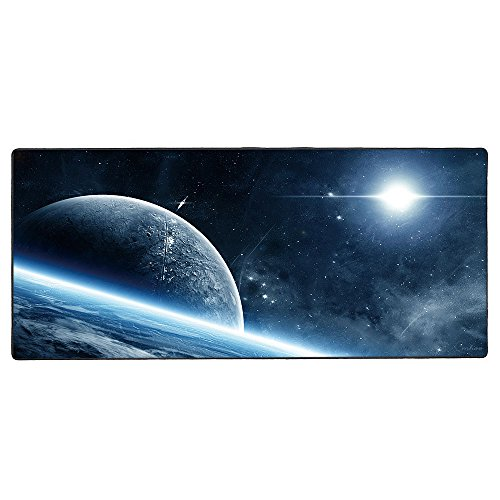 Cmhoo Gaming Mouse Pad Extended & Large Desk Pad with Special-Textured Surface (90x40 Space Ship)