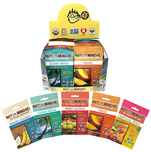 Matt's Munchies Tropical Assortment Organic Non-GMO Fruit Leather Peelable Fruit Snacks 25 Count Variety Pack Caddy – Mango, Island Mango, Tropical Punch, Banana Coconut & Apple ()